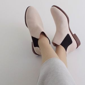 Clarks Taylor Shine Nude Pink Leather Booties